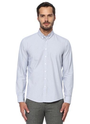 George Hogg George Hogg Düğmeli Yaka Uzun Kollu Slim Fit Laciver Erkek Gömlek Lacivert